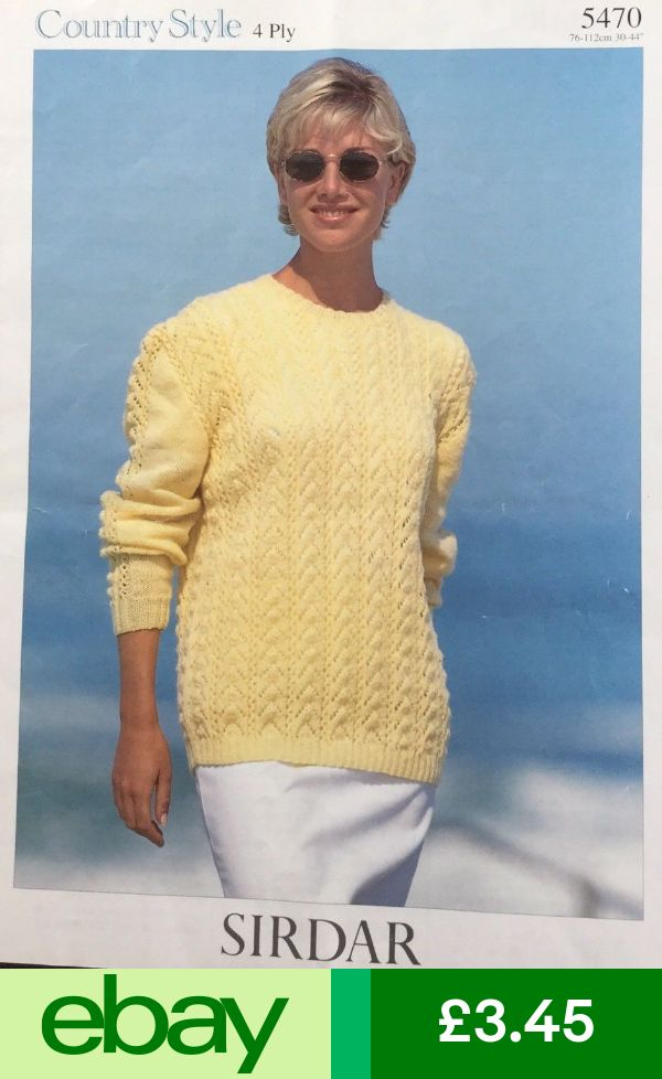 Sirdar Knitting Pattern 5470 4 Ply Ladies Lacy Jumper ...