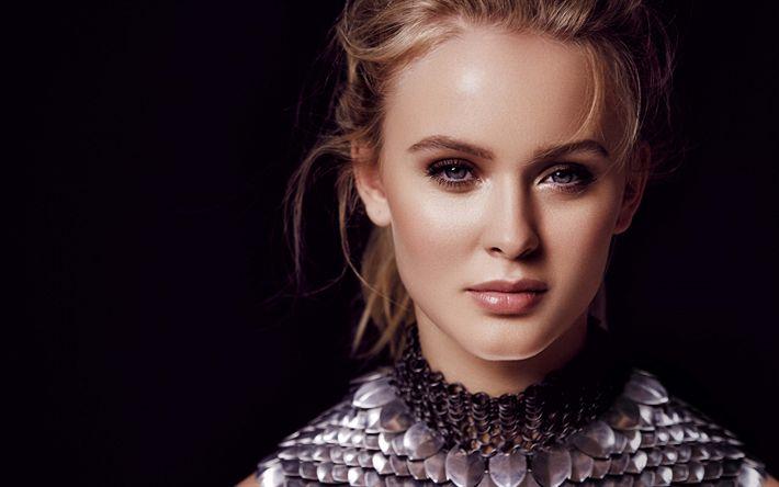 Descargar fondos de pantalla Zara Larsson, Retrato, maquillaje, rubia, hermosa mujer, la cantante sueca