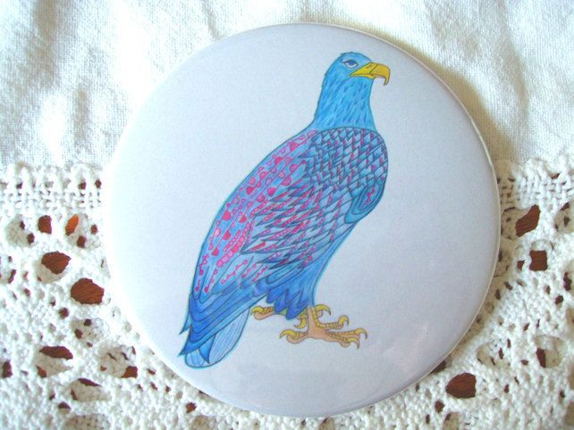 Bertha the Frilly Sea Eagle - pocket mirror. £3.50