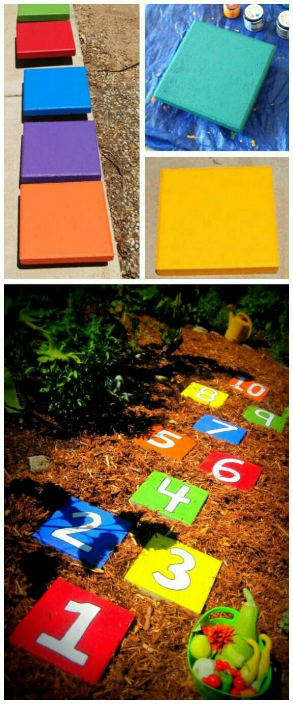 Colorful hopscotch tiles in lawn/dirt