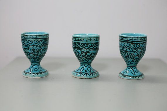 Vintage Egg Cups Rustic Egg Cups Set of Three by TownLane on Etsy