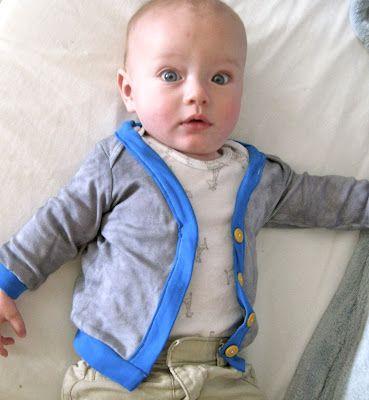 Sisterhood of the Crafty Pants: DIY Baby Cardigan from Onesie