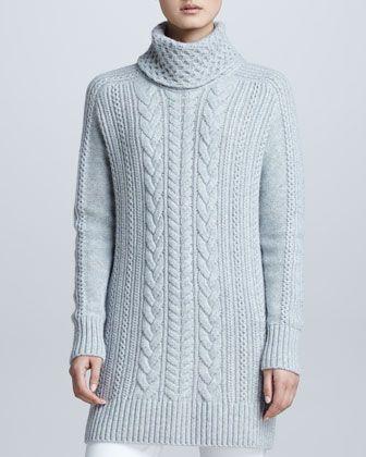 Love this! Loro Piana Cable Knit Cape | Loro Piana Cable-Knit Cashmere Turtleneck Tunic Sweater - Neiman ...