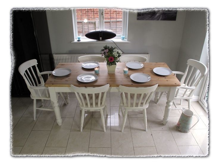 shabby chic farmhouse dining table u0026 chairs - Dining Table With Chairs