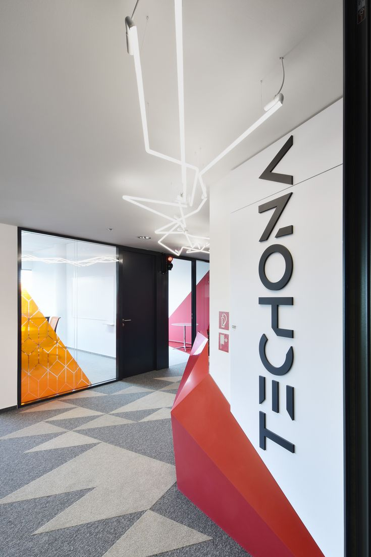 Techona office   monom - interior, entrance with neon light