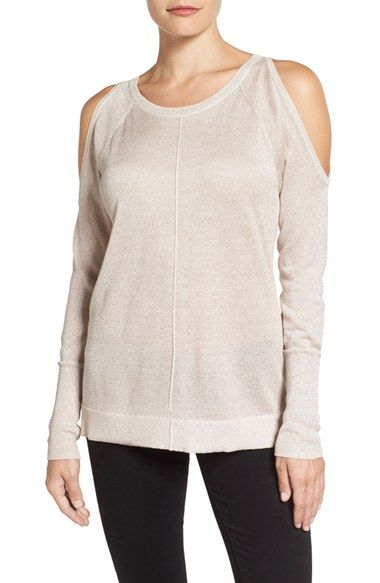 Free shipping and returns on Vince Camuto Metallic Knit Cold Shoulder Sweater (Regular & Petite) at Nordstrom.com. Lustrous yarn glistens like the inside of a seashell, adding subtle sparkle to a delicately knit cold-shoulder sweater.