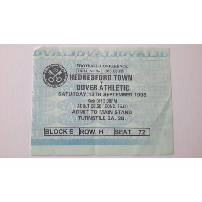 Hednesford Town v Dover Athletic 1998/1999 Football Ticket Stub Non League Listing in the Non- League,English Club Leagues & Cups,Ticket Stubs,Football (Soccer),Memorabilia & Fan Store,Sport Memorabilia & Cards Category on eBid United Kingdom | 144985606