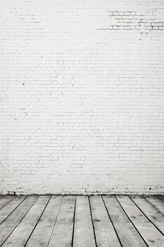 White Gray Brick Wall Wood Floor Photography Studio