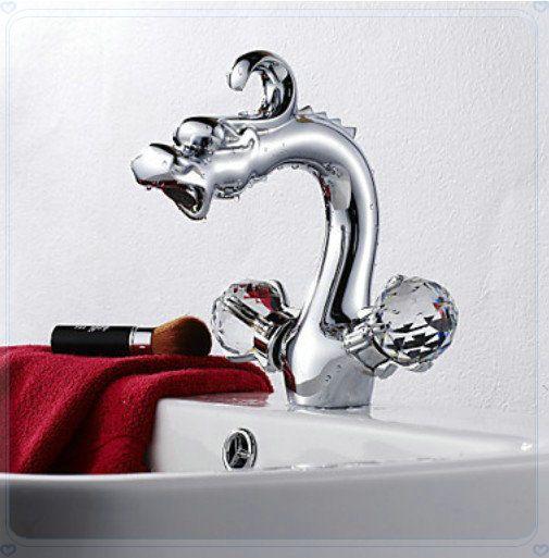 Купить товарХром латунь дракон форма раковины ванной комнаты кран двойной ручки бассейна смесителя в категории Смесители для умывальникана AliExpress.            &