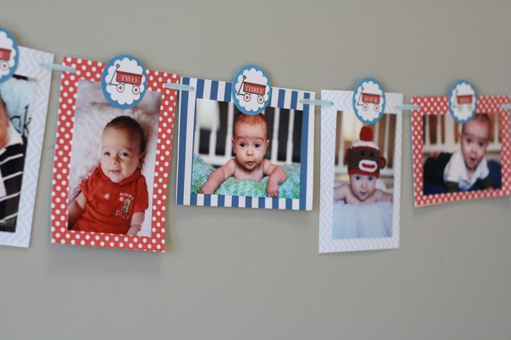 Project Nursery - Red Wagon 1st Birthday Party Photo Banners