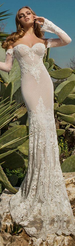 julie vino spring 2015 desert rose bridal collection martina beautiful sheath wedding dress off shoulder illusion long sleeves full view #sheathweddingdress #weddingdresses