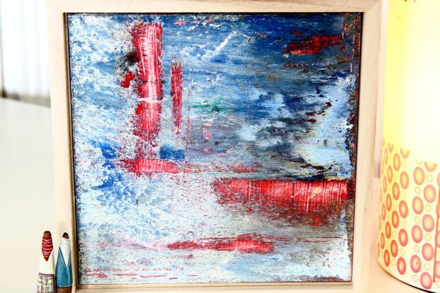 Cold encaustic wax layered art work in blue, red, white and burnt umber by TheFlightyFlamingo on Etsy