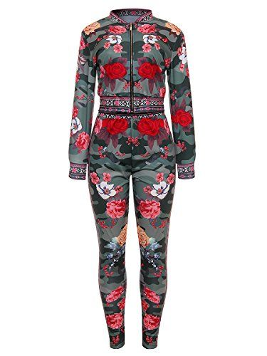 63d12eab40e Women Sexy Floral Print 2 Piece Jumpsuits Outfits Clubwear Army Green M