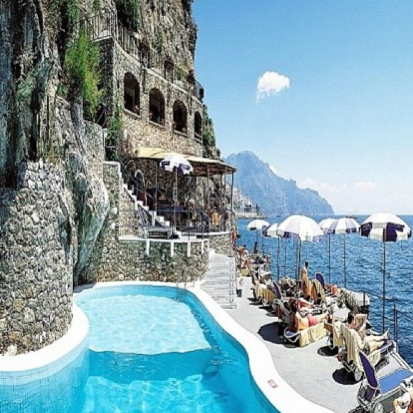 Amalfi, Italy. Hotel Santa Caterina. To get to the pool area you must take an elevator down through the cliff - a wonderful experience!
