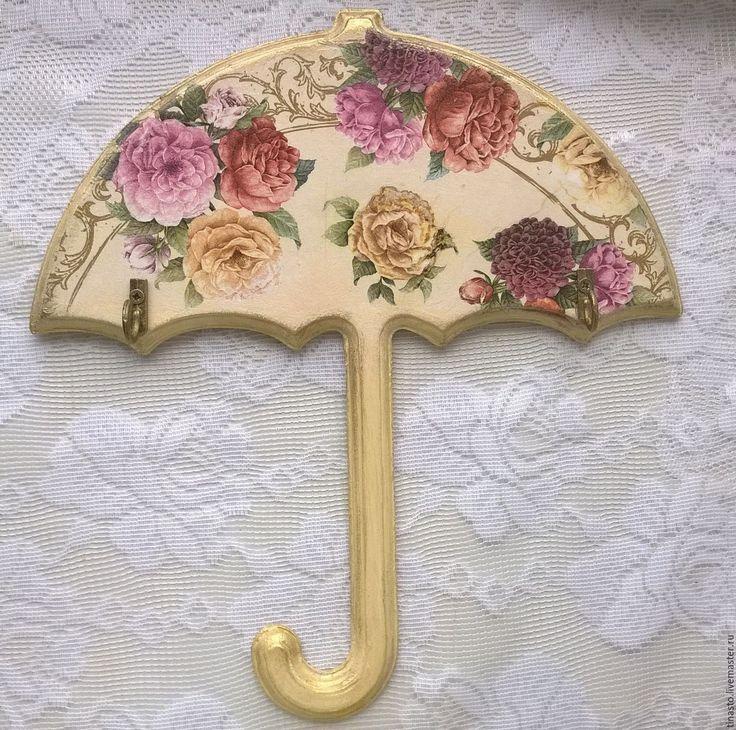 """Купить Ключница для зонтов """"Зонтик с розами"""" - желтый, зонтик, ключница-зонтик, ключница-вешалка"""