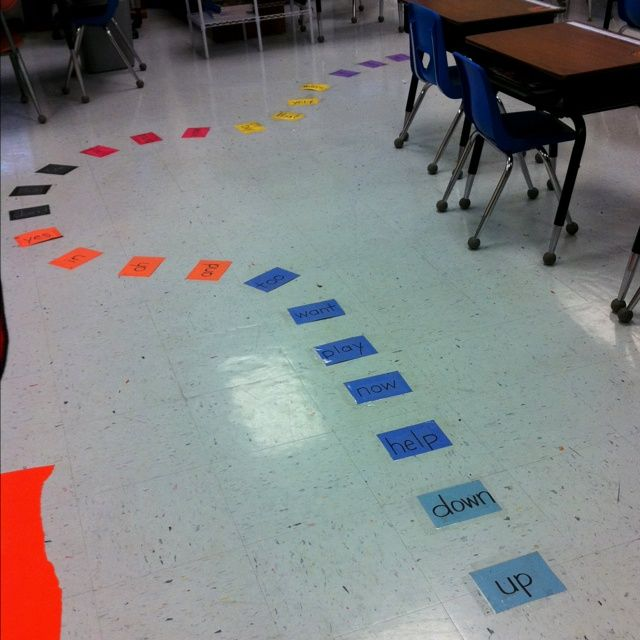 Too cute! Sight Word Floor Game-- see how far you can get! Could use with math facts, review questions, vocab words. Image only