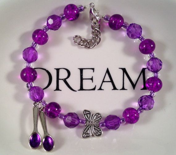 ♪♪ This is a SPOON THEORY INSPIRED beautiful beaded bracelet. I used transite, beautiful purple 8mm glass crackle beads, 8mm purple acrylic