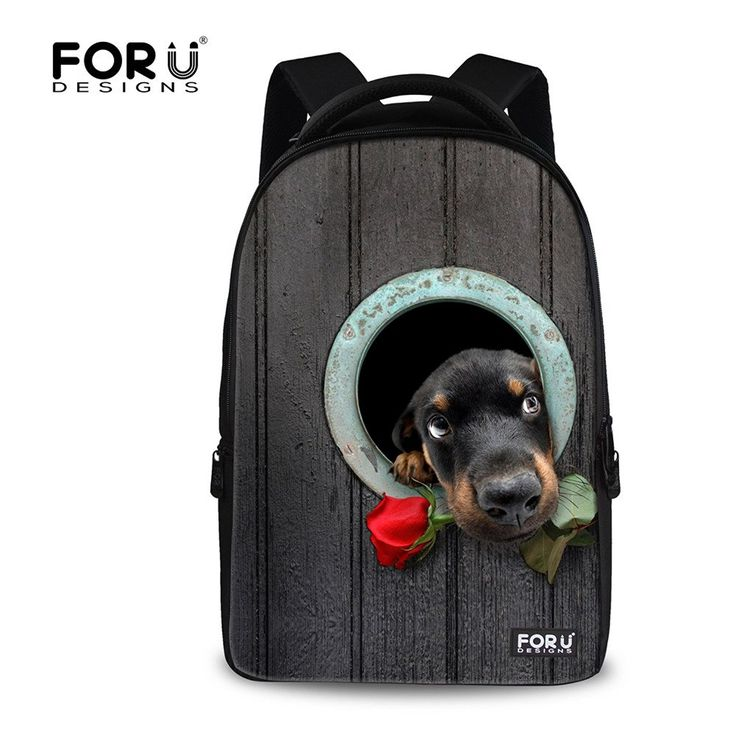 FOR U DESIGNS Stylish Cute Dog Animal Printed School Backpack Bookbag for Teens >>> Details can be found  : Day backpacks
