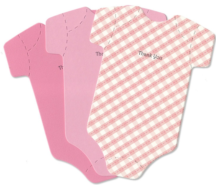 10 Baby Thank-You Cards - Strawberry Pink OnesiesThank You Baby Shower Girl