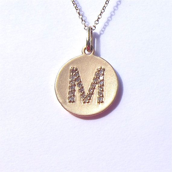 14k Yellow Gold Diamond Initial Disc Pendant Necklace on Etsy, $350.00