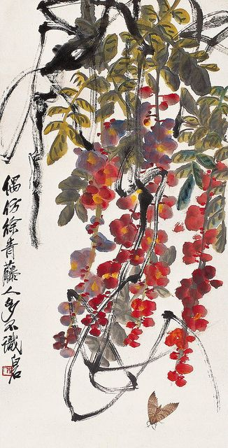 齐白石 紫藤飞蛾图 by China Online Museum - Chinese Art Galleries, via Flickr