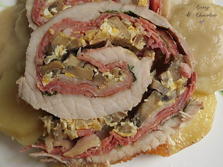 Lomo de cerdo asado y relleno para Navidad
