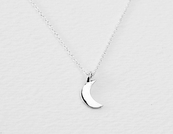 Crescent - half moon charm sterling silver necklace - small dainty jewelry - women gift