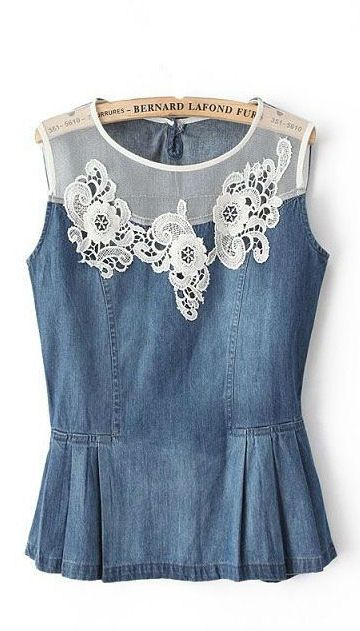 Flowers Lace Denim Top ♥ Sweet!