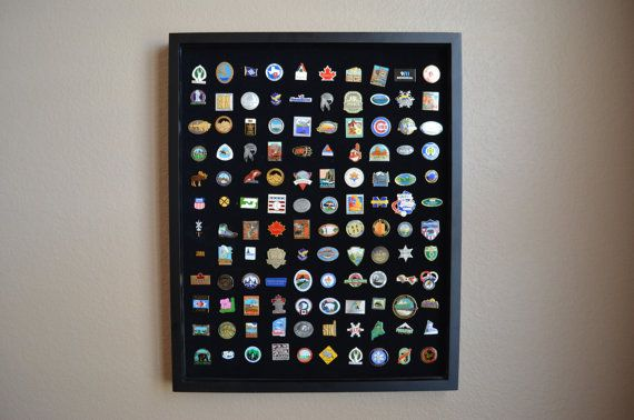 Wood shadowbox lapel pin display case with predrilled velour pinboard that holds 120 pins; 12 rows and 10 columns. Details: Our unique