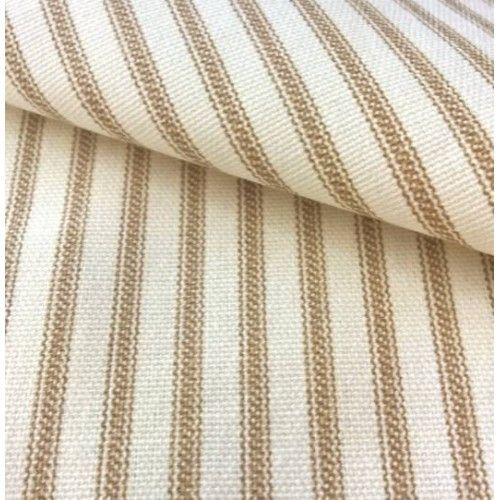 Ticking Stripe Cotton Fabric Brown Cream - Order Online - Fabric Traders
