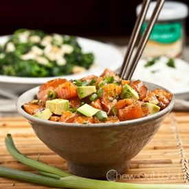 Hawaiian Salmon Poke.  Supposed to be an appetizer, but we love it so much, it becomes our main dish.  Better than sashimi.