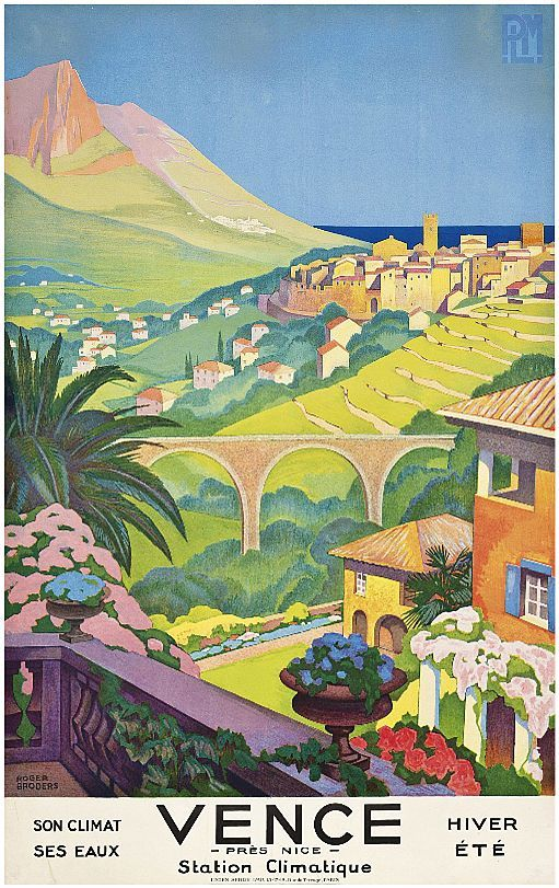 ✨  Roger Broders (1883-1953) - VENCE, 1930,  lithograph in colours, Lucien Serre