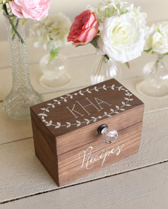 Welcome to Morgann Hill Designs! An original MHD copyrighted design, do not copy. 1) Description Of Item For sale is a beautiful, rustic chic wood recipe box. Personalized with any of the below options:  Custom Made To Order Pick Your Personalizing Options: ** 3 Letter Monogram {Example: KHA} ** First Name {Example: Anns} ** First & Last Name {Example: Ann Shirleys} ** Two First Names {Kyle + Ann}  A gorgeous recipe box that makes a lovely personalized gift for a wedding, anniversary, or…