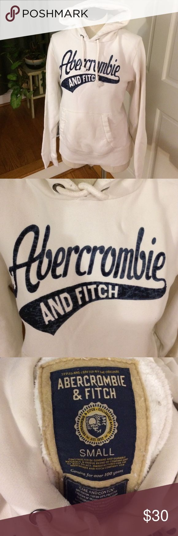 Abercrombie white & navy hoodie Abercrombie & Fitch white & navy hoodie. In excellent used condition- there are distressed areas consistent with the Abercrombie style that was purchased that way. This is a small, but it fits like a medium or large (by Abercrombie's standards) so it might be a men's small but I think it looks great as a women's hoodie. Abercrombie & Fitch Tops Sweatshirts & Hoodies
