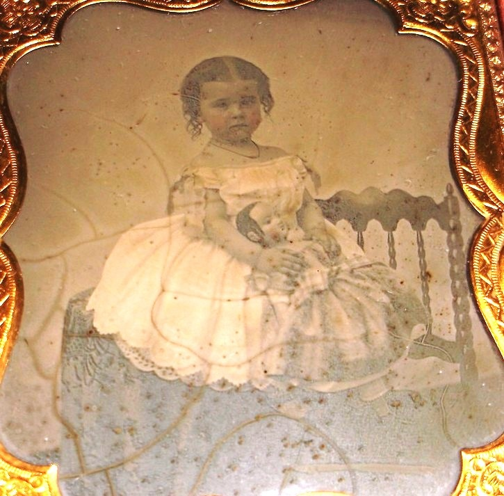 girl with Izannah Walker doll ambrotype