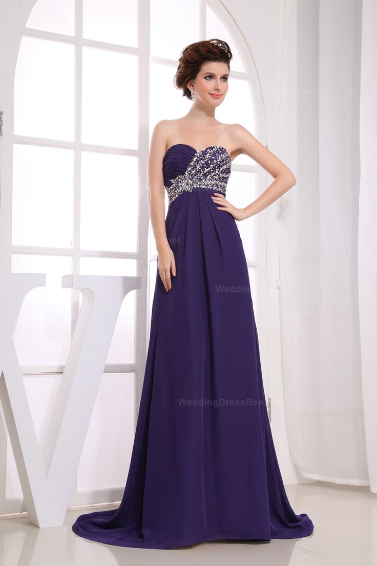 Elegant Strapless Half Beaded Ruched Top Evening Dress Possible prom dress website!