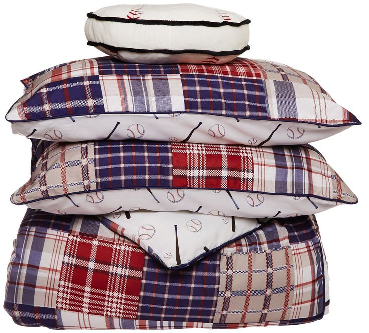 Red White Blue Baseball Bedding Twin Patwork Plaid