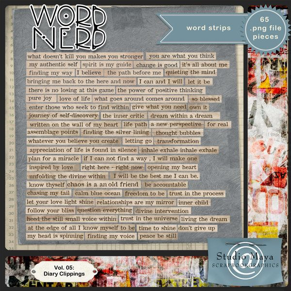 Scrapbookgraphics.com :: Elements :: Word Art :: Word Nerd Vol. 05: Diary Clippings