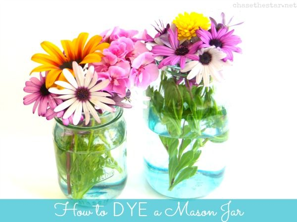 The Creative Headquarters: Dyeing Mason Jars {for a 'Vintage' look}