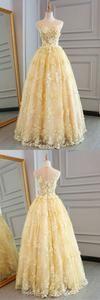 Yellow lace customize long A-line senior prom dress, long lace halter evening dress,PD455876