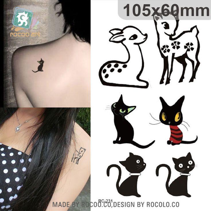 Водонепроницаемый Временные Татуировки Наклейки на спине прекрасный олень татуировки животных кошка Переноса Воды поддельные татуировки флэш татуировки для женщин девушки