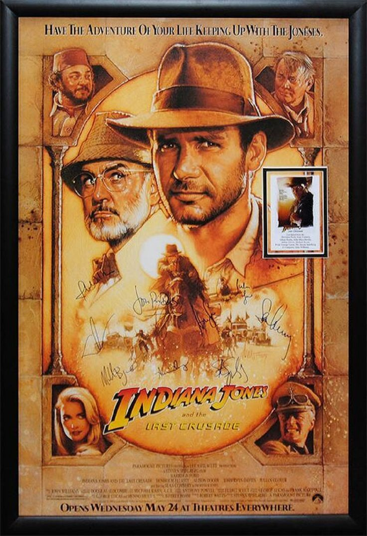 Indiana Jones - Signed Movie Poster in Wood Frame with COA