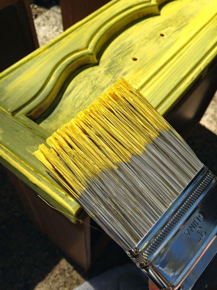 DIY Chalk Paint Yellow Distressed Furniture