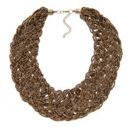 Chunky plait bronze seed bead collar necklace.