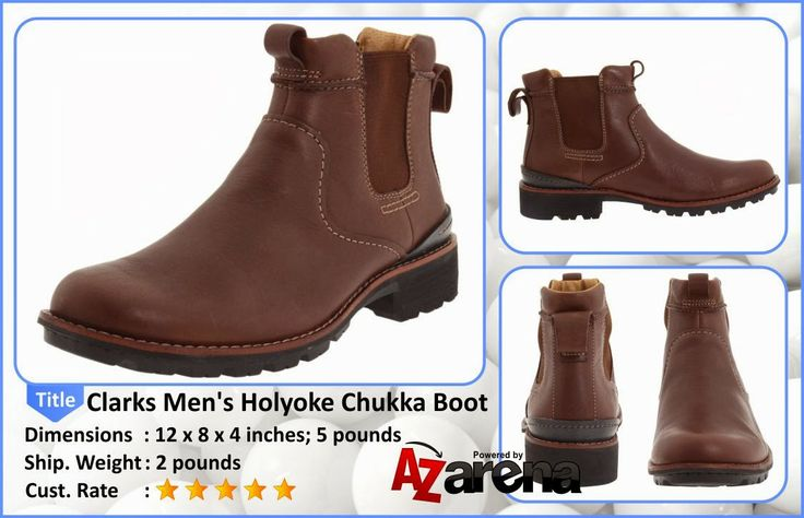 Clarks Men's Holyoke Chukka Boot |  Enhance your style with the rugged and retro Clarks Holyoke boot. This men's pull-on boot has a full grain leather upper with dual side goring for a snug fit and easy entry. Heel and tongue pull tabs aid in the on/off process. The Ortholite® footbed conforms to the natural shape of your foot and absorbs shock to reduce foot fatigue. A lugged rubber outsole delivers dependable traction to the Clarks Holyoke boot.
