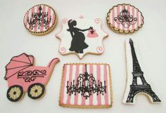 Paris theme baby shower cookies