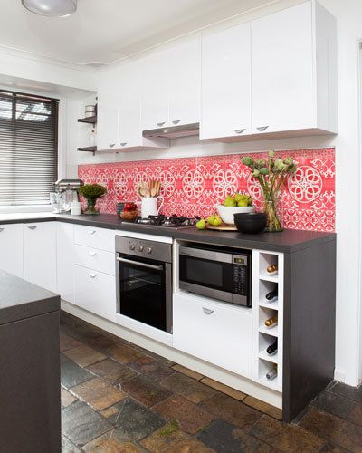 Good idea on how to do a modern kitchen with an old state floor. Hate the Splash back though. Flat-pack kitchen makeover