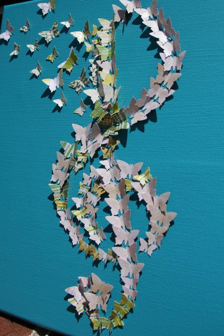 End of year teacher gift - my boy's music teacher gift...DIY canvas with treble clef butterflies