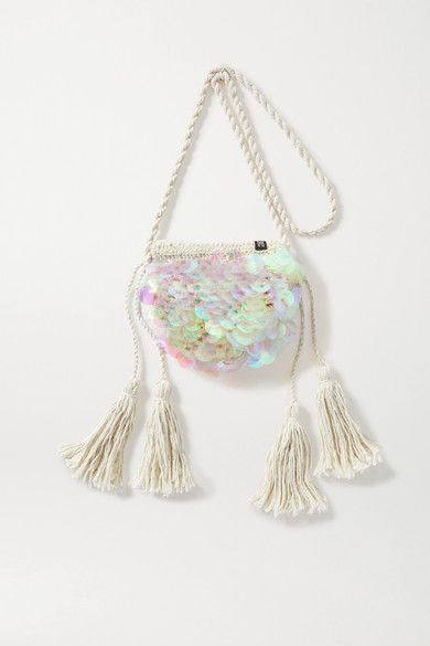 Off-white macramé Drawstring top Comes with dust bag Weighs approximately Imported Kids Bags, Jumpsuit Dress, Free Items, Iridescent, Bag Accessories, Hand Weaving, Card Holder, Product Launch, Shoulder Bag