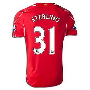 Men's 2014/15 Liverpool Raheem Sterling 31 Red Home Soccer Jersey